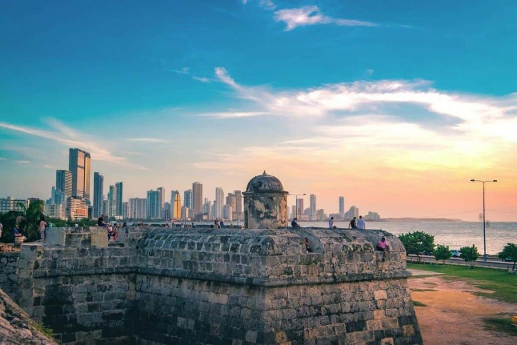 Living Overseas in Cartagena Colombia to watch beautiful sunsets by the Old Fort