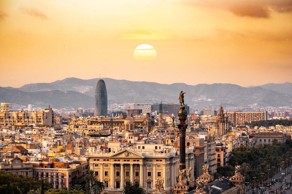 The city skyline of Barcelona Spain