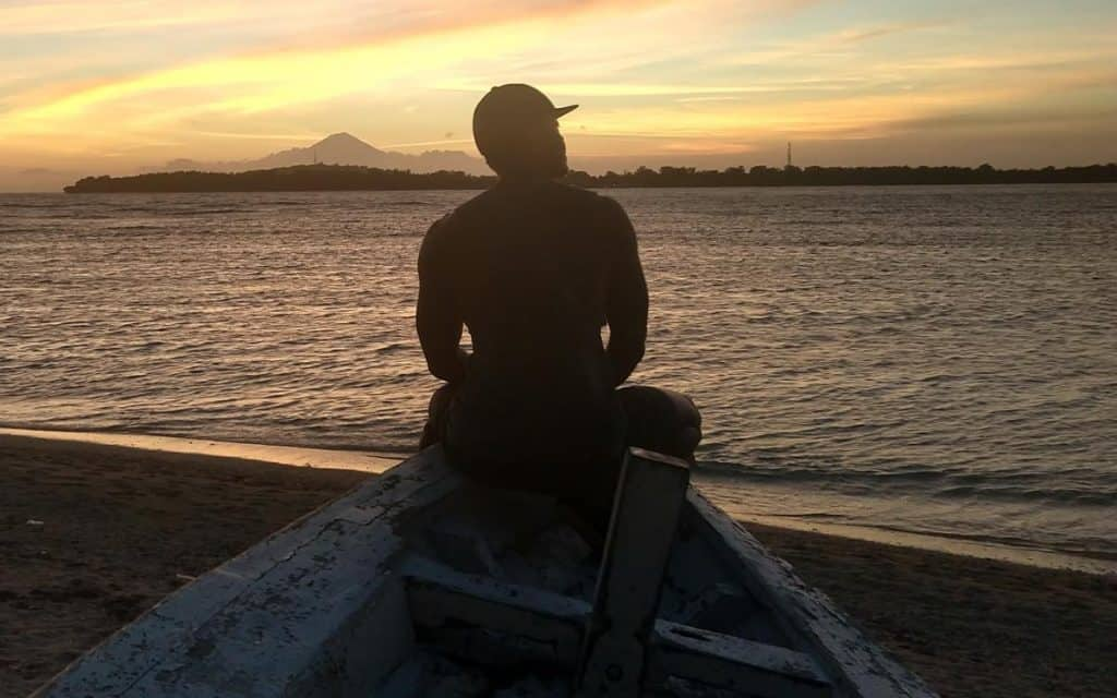 Marco gazing at Mount Agung from Gili Air Island, Indonesia
