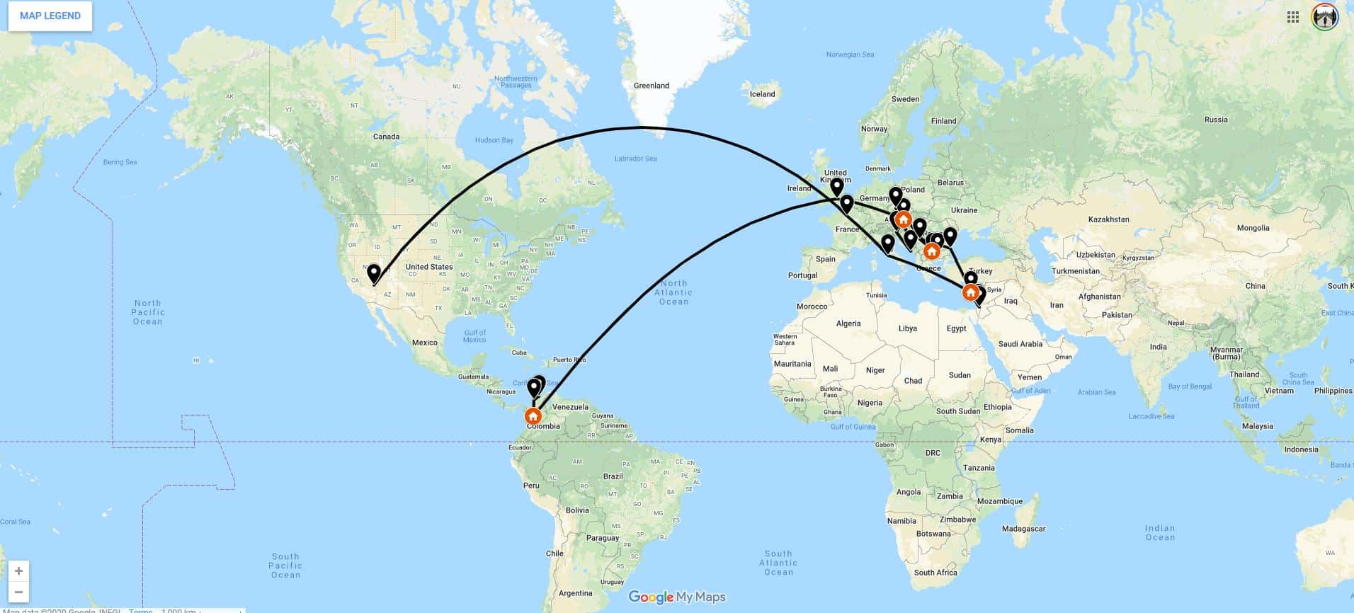 Nomadic FIRE- 2019 Travel Map