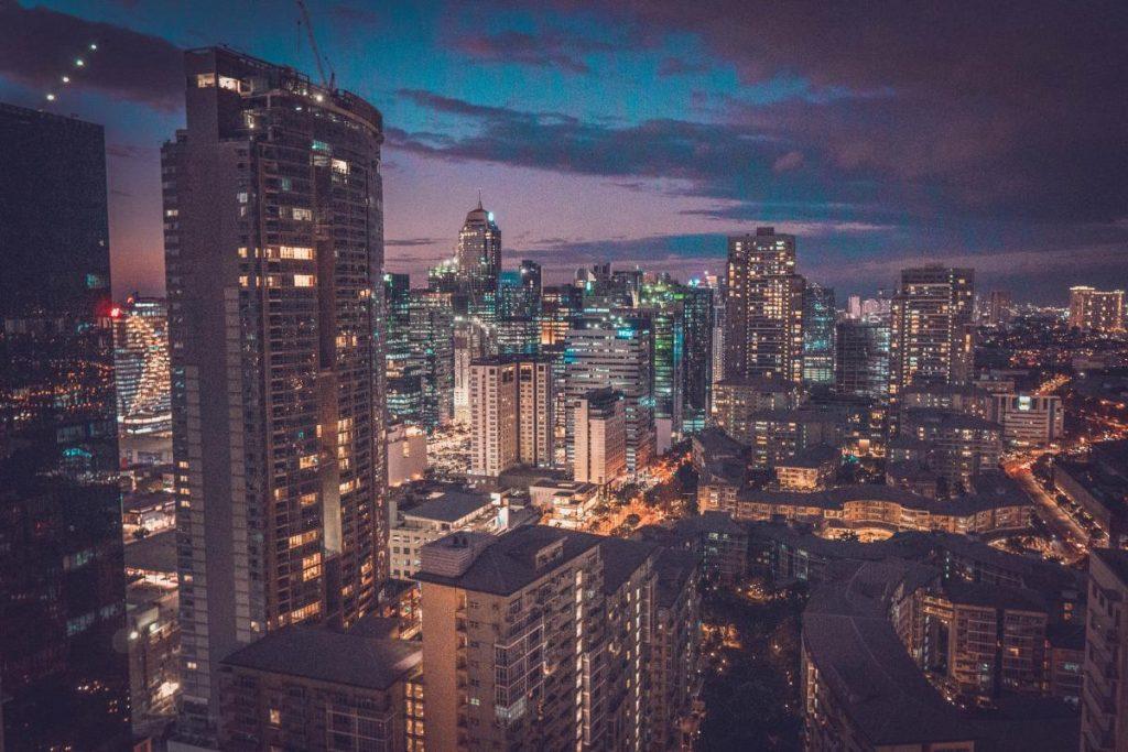 Philippines Manila Makati Skyline at Night