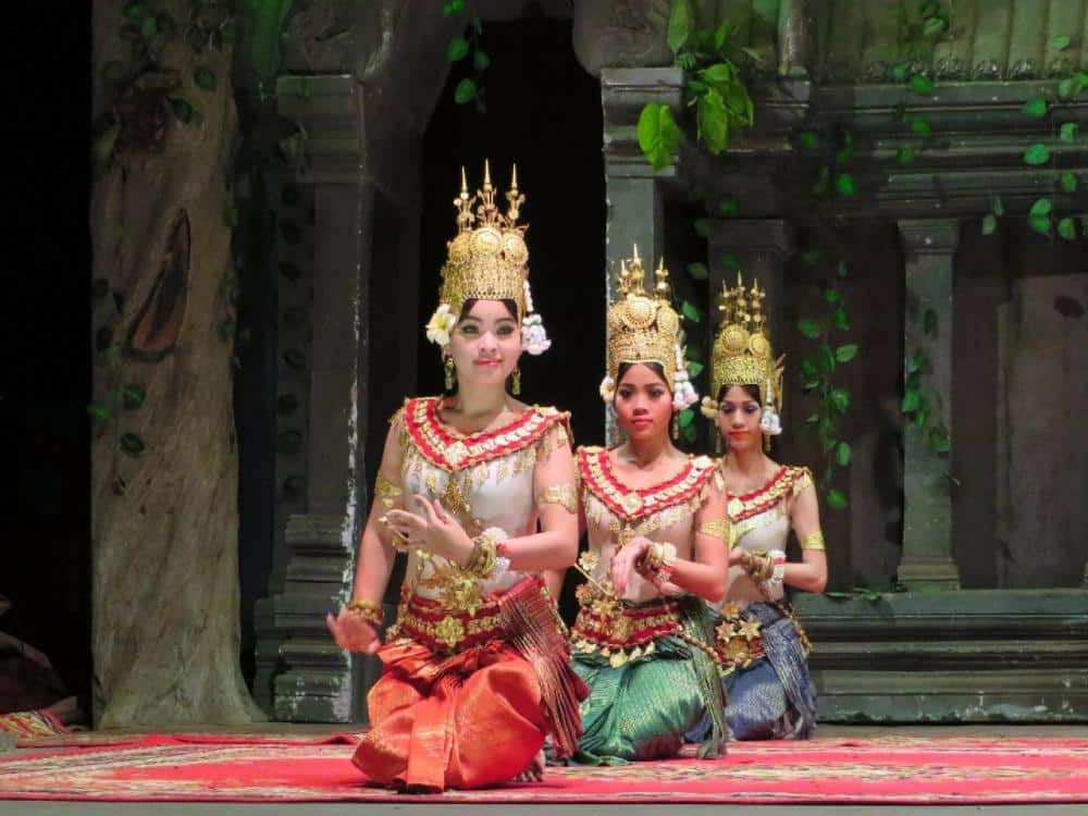 three women doing traditional cambodian dance- one of the top things to do in phnom penh