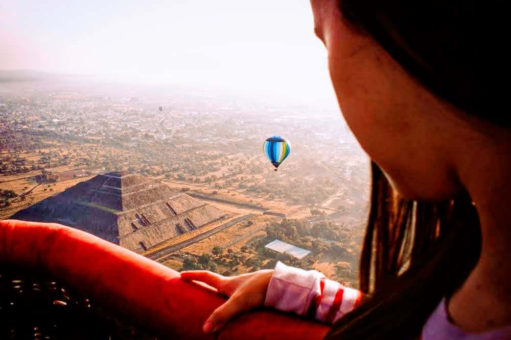 balloon view of Teotihuacan one of the best places to visit in mexico city